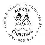Snowman Family Christmas Round Stamp-Snowman SnowWoman-477871B