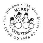 Snowman Family Christmas Round Stamp-Snowman SnowWoman 2 Children-477871D