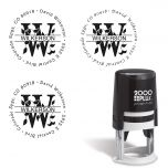 Last Name Monogram Round Self-Inking Address Stamp
