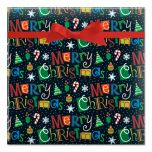 Merry Christmas on Black Jumbo Rolled Gift Wrap
