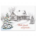 Winter Home Religious Christmas Cards
