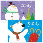 Snowman/Bear Christmas Place Mat