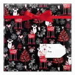 Reindeer on Black Jumbo Rolled Gift Wrap and Labels