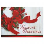 Wreath & Ribbon Deluxe Christmas Cards