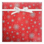 Silver Snowflakes on Red Foil Rolled Gift Wrap