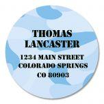 Blue Camo Round Address Labels