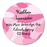 Pink Camo Round Address Labels