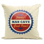 Man Cave Burlap Pillow