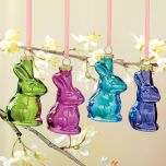 Glass Bunnies Easter Ornaments Set