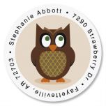 Owl Round Address Label