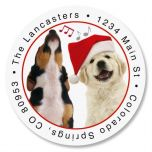 Dogs Singing Round Address Labels