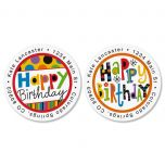 Happy B'Day Round Address Label  (2 designs)
