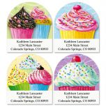 Cupcake Diecut Address Labels  (4 designs)