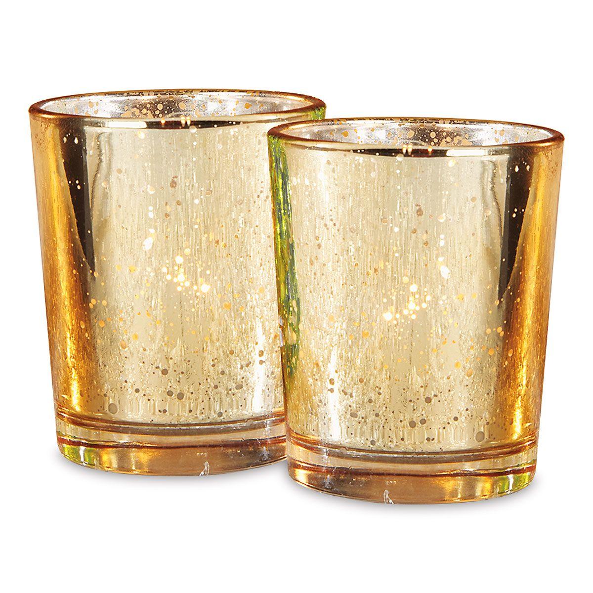 Gold Glass Tealight Holders - BOGO