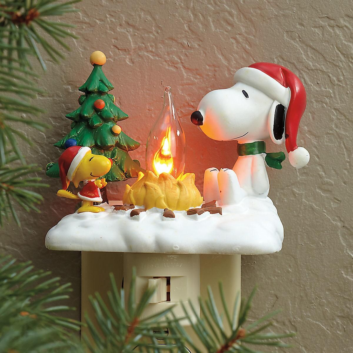 Peanuts Snoopy And Woodstock By Campfire Night Light