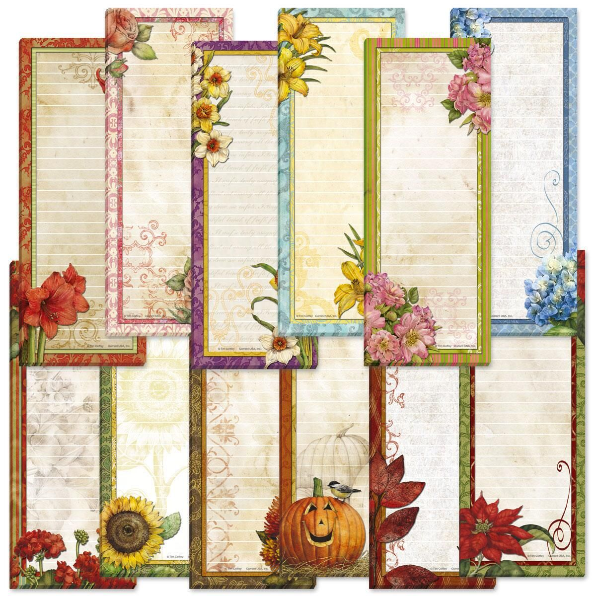 Seasonal Lined Magnetic Shopping List Pads