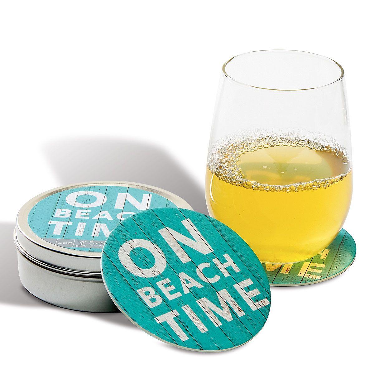 Beach Time Coasters in a Tin
