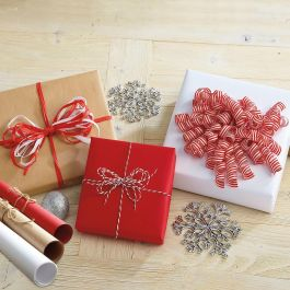 Kraft Jumbo Rolled Gift Wrap - Set of 3 (brown, white, red)