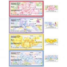 Floral Fancy Single Checks with Matching Address Labels