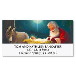 Kneeling Santa Deluxe Address Labels