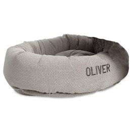 Medium Round Lounger Silver Treats Dog Bed by Bowsers Pet Products