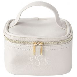 Personalized Faux Leather Jewelry Train Case, Oyster Grey - Monogram