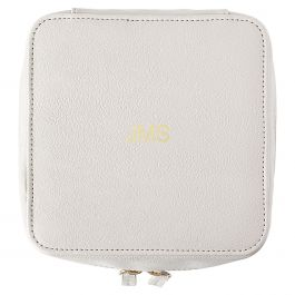 Personalized Faux Leather Tech Travel Case, Oyster Grey - Monogram