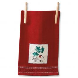 Red Gather Together Autumn Kitchen Towel