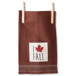 Brown I Love Fall Autumn Kitchen Towel