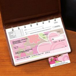 Shades of Pink Top-Stub Checks with Matching Address Labels