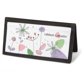 Sketched Flowers  Checkbook Cover - Personalized