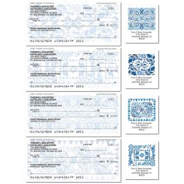 Crazy Quilt Indigo Single Checks with Matching Labels