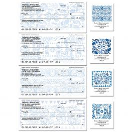 Crazy Quilt Indigo Duplicate Checks with Matching Labels