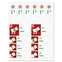 Reindeer on Red Christmas Labels