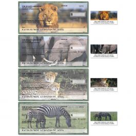 Wildlife of Africa Single Checks with Matching Address Labels