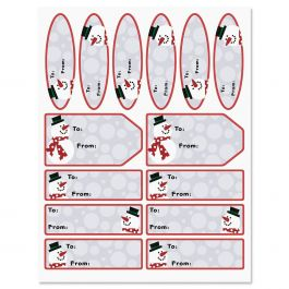 Silver and Red Snowman Labels