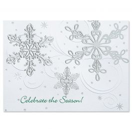 Snow Swirls Nonpersonalized Deluxe Christmas Cards - Set of 14