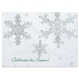 Snow Swirls  Personalized Deluxe Christmas Cards - Set of 14