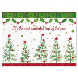 Whimsy Trees Christmas Cards - Personalized