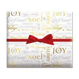 Metallic Script Jumbo Rolled Gift Wrap