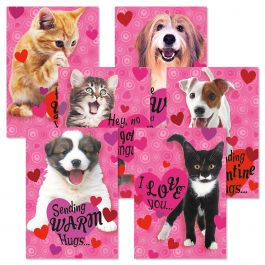 Puppies and Kittens Valentines Day Cards