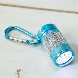 Teal Clip Bling Flashlight
