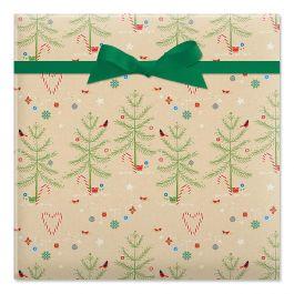 Twinkling Trees Jumbo Rolled Gift Wrap