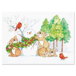 Winter Bunnies Christmas Cards - Nonpersonalized