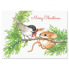 Bird and Mouse in Tree Christmas Cards - Personalized