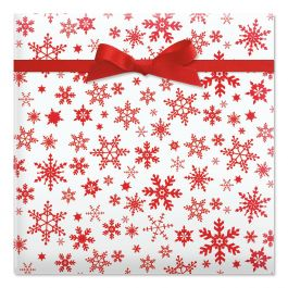 Red Snowflake Jumbo Rolled Gift Wrap