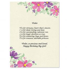 Violet Name Poem Print Current Catalog