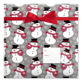 Smiling Snowmen Jumbo Rolled Gift Wrap Current Catalog