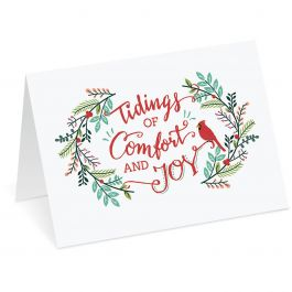 Tidings of Comfort and Joy Personalized Christmas Cards - Set of 18