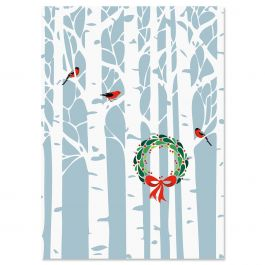 Aspens with Wreath Christmas Cards